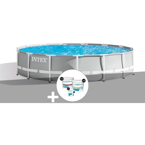 Kit piscine tubulaire Intex Prism Frame ronde 4,57 x 1,07 m + Kit de traitement au chlore