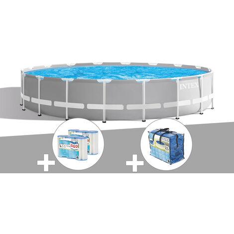 Kit piscine tubulaire Intex Prism Frame ronde 5,49 x 1,22 m + 6 cartouches de filtration + Bâche à bulles
