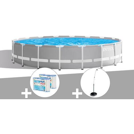 Kit piscine tubulaire Intex Prism Frame ronde 5,49 x 1,22 m + 6 cartouches de filtration + Douche solaire