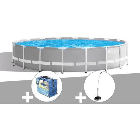 Kit piscine tubulaire Intex Prism Frame ronde 5,49 x 1,22 m + Bâche à bulles + Douche solaire