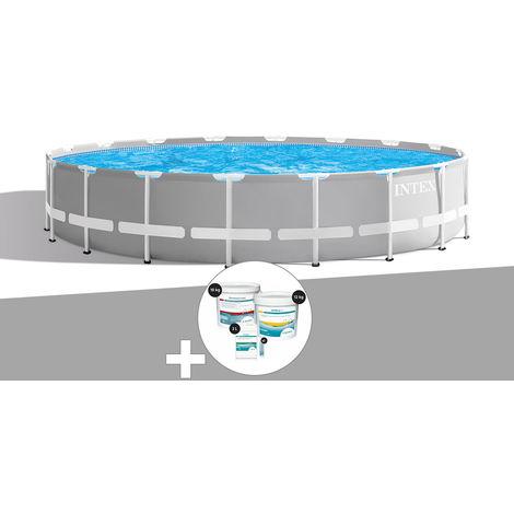 Kit piscine tubulaire Intex Prism Frame ronde 5,49 x 1,22 m + Kit de traitement au chlore