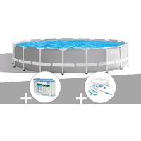 Kit piscine tubulaire Intex Prism Frame ronde 6,10 x 1,32 m + 6 cartouches de filtration + Kit d'entretien