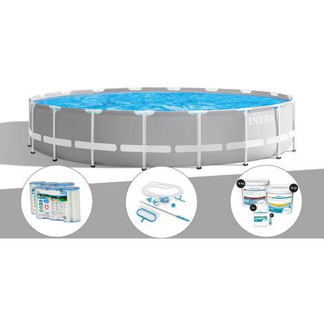 Kit piscine tubulaire Intex Prism Frame ronde 6,10 x 1,32 m + 6 cartouches de filtration + Kit d'entretien + Kit de traitement au chlore
