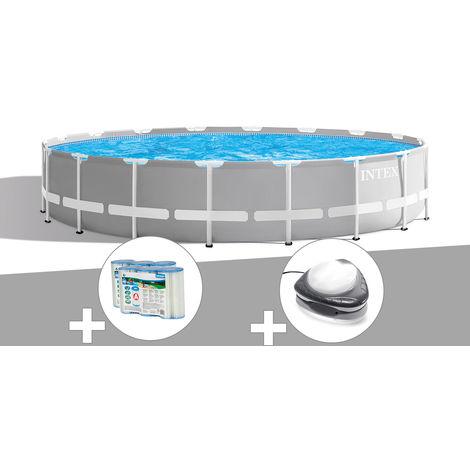 Kit piscine tubulaire Intex Prism Frame ronde 6,10 x 1,32 m + 6 cartouches de filtration + Spot