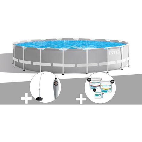 Kit piscine tubulaire Intex Prism Frame ronde 6,10 x 1,32 m + Douche solaire + Kit de traitement au chlore