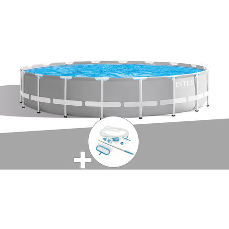 Kit piscine tubulaire Intex Prism Frame ronde 6,10 x 1,32 m + Kit d'entretien