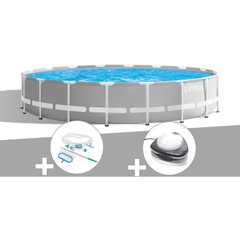 Kit piscine tubulaire Intex Prism Frame ronde 6,10 x 1,32 m + Kit d'entretien + Spot