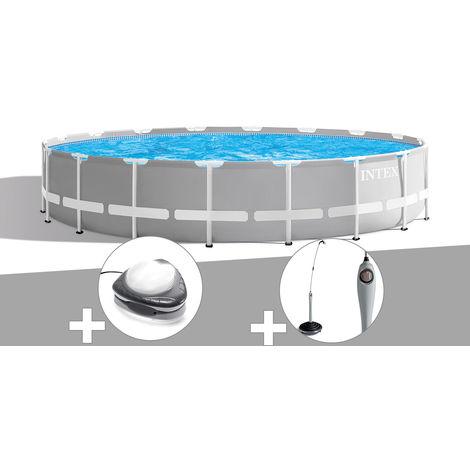 Kit piscine tubulaire Intex Prism Frame ronde 6,10 x 1,32 m + Spot + Douche solaire