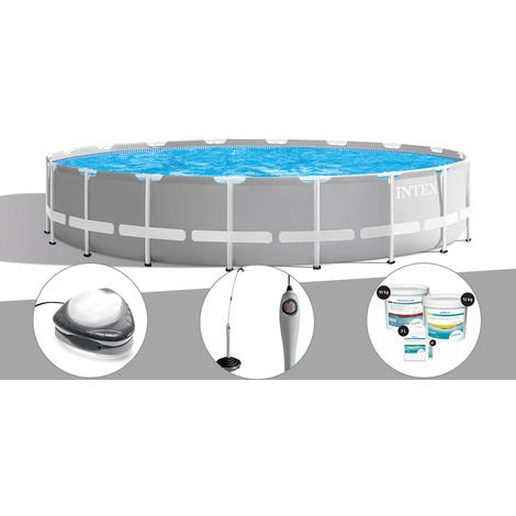 Kit piscine tubulaire Intex Prism Frame ronde 6,10 x 1,32 m + Spot + Douche solaire + Kit de traitement au chlore