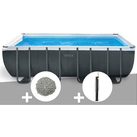 Kit piscine tubulaire Intex Ultra XTR Frame rectangulaire 5,49 x 2,74 x 1,32 m + 10 kg de zéolite + Douche solaire