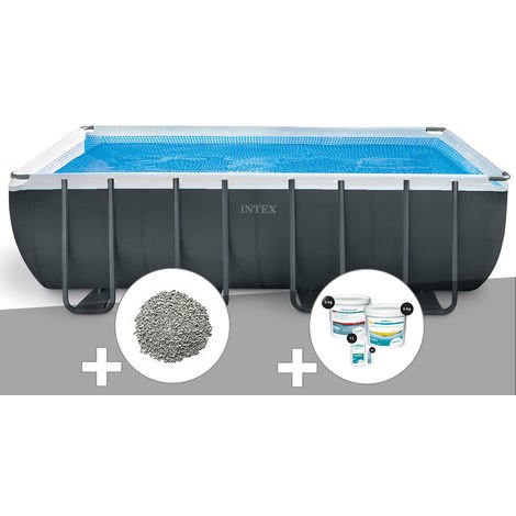 Kit piscine tubulaire Intex Ultra XTR Frame rectangulaire 5,49 x 2,74 x 1,32 m + 10 kg de zéolite + Kit de traitement au chlore
