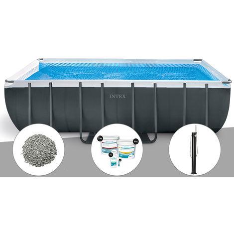 Kit piscine tubulaire Intex Ultra XTR Frame rectangulaire 5,49 x 2,74 x 1,32 m + 10 kg de zéolite + Kit de traitement au chlore + Douche solaire