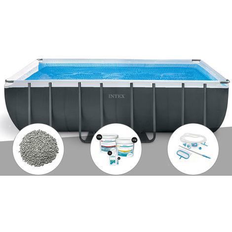 Kit piscine tubulaire Intex Ultra XTR Frame rectangulaire 5,49 x 2,74 x 1,32 m + 10 kg de zéolite + Kit de traitement au chlore + Kit d'entretien