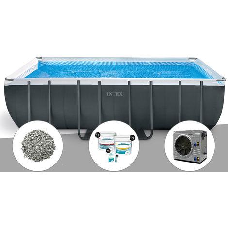 Kit piscine tubulaire Intex Ultra XTR Frame rectangulaire 5,49 x 2,74 x 1,32 m + 10 kg de zéolite + Kit de traitement au chlore + Pompe à chaleur