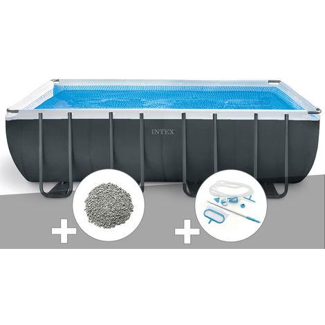 Kit piscine tubulaire Intex Ultra XTR Frame rectangulaire 5,49 x 2,74 x 1,32 m + 10 kg de zéolite + Kit d'entretien