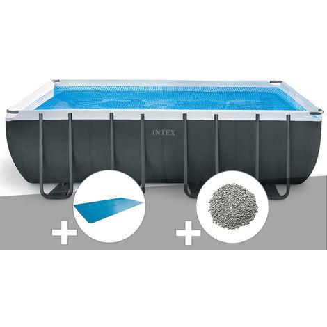 Kit piscine tubulaire Intex Ultra XTR Frame rectangulaire 5,49 x 2,74 x 1,32 m + Bâche à bulles + 10 kg de zéolite