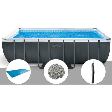 Kit piscine tubulaire Intex Ultra XTR Frame rectangulaire 5,49 x 2,74 x 1,32 m + Bâche à bulles + 10 kg de zéolite + Douche solaire