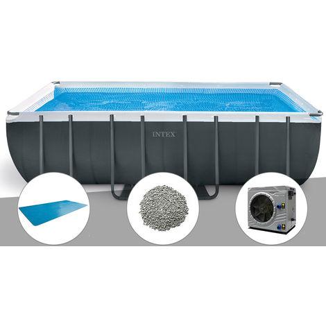"""main image of """"Kit piscine tubulaire Intex Ultra XTR Frame rectangulaire 5,49 x 2,74 x 1,32 m + Bâche à bulles + 10 kg de zéolite + Pompe à chaleur"""""""