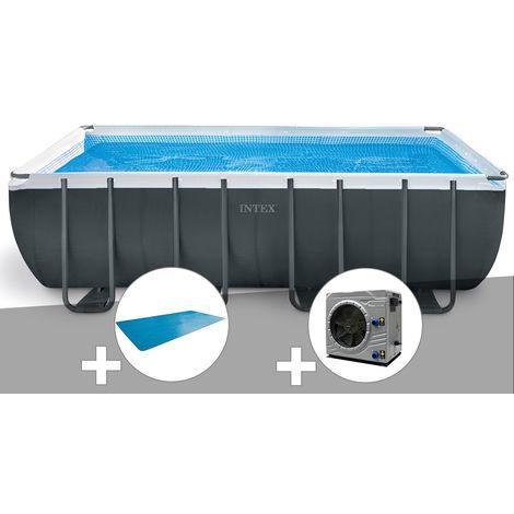 Kit piscine tubulaire Intex Ultra XTR Frame rectangulaire 5,49 x 2,74 x 1,32 m + Bâche à bulles + Pompe à chaleur