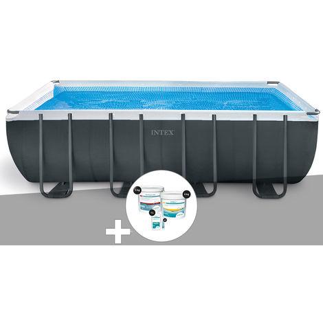 Kit piscine tubulaire Intex Ultra XTR Frame rectangulaire 5,49 x 2,74 x 1,32 m + Kit de traitement au chlore