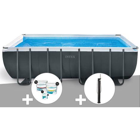 Kit piscine tubulaire Intex Ultra XTR Frame rectangulaire 5,49 x 2,74 x 1,32 m + Kit de traitement au chlore + Douche solaire