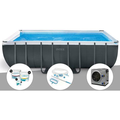 Kit piscine tubulaire Intex Ultra XTR Frame rectangulaire 5,49 x 2,74 x 1,32 m + Kit de traitement au chlore + Kit d'entretien + Pompe à chaleur