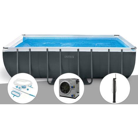Kit piscine tubulaire Intex Ultra XTR Frame rectangulaire 5,49 x 2,74 x 1,32 m + Kit d'entretien + Pompe à chaleur + Douche solaire