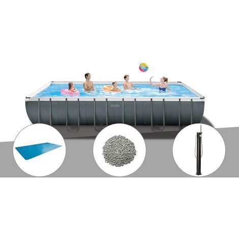 Kit piscine tubulaire Intex Ultra XTR Frame rectangulaire 7,32 x 3,66 x 1,32 m + Bâche à bulles + 20 kg de zéolite + Douche solaire