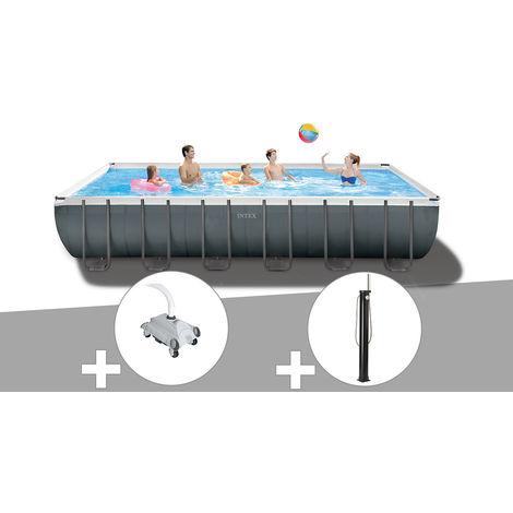 Kit piscine tubulaire Intex Ultra XTR Frame rectangulaire 7,32 x 3,66 x 1,32 m + Robot nettoyeur + Douche solaire