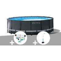 Kit piscine tubulaire Intex Ultra XTR Frame ronde 4,27 x 1,22 m + Kit de traitement au chlore + Douche solaire