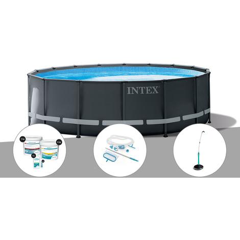 Kit piscine tubulaire Intex Ultra XTR Frame ronde 4,27 x 1,22 m + Kit de traitement au chlore + Kit d'entretien + Douche solaire