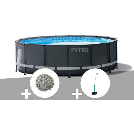 Kit piscine tubulaire Intex Ultra XTR Frame ronde 4,27 x 1,22 m + Zéolite + Douche solaire