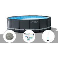 Kit piscine tubulaire Intex Ultra XTR Frame ronde 4,27 x 1,22 m + Zéolite + Kit de traitement au chlore + Douche solaire