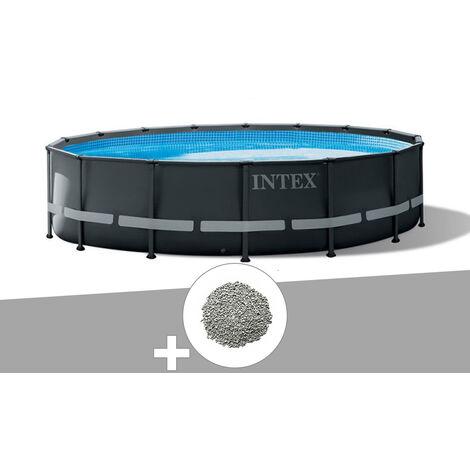 Kit piscine tubulaire Intex Ultra XTR Frame ronde 4,88 x 1,22 m + 20 kg de zéolite