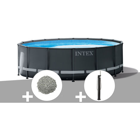 Kit piscine tubulaire Intex Ultra XTR Frame ronde 4,88 x 1,22 m + 20 kg de zéolite + Douche solaire