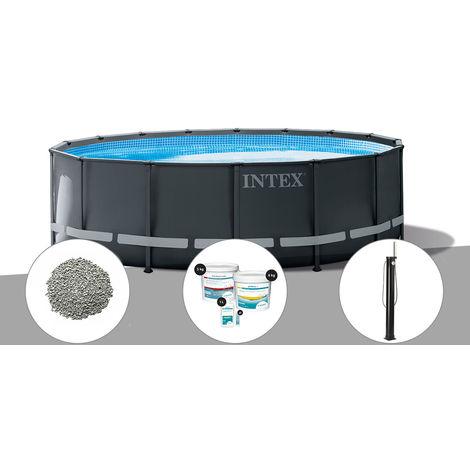 Kit piscine tubulaire Intex Ultra XTR Frame ronde 4,88 x 1,22 m + 20 kg de zéolite + Kit de traitement au chlore + Douche solaire