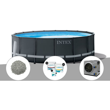 Kit piscine tubulaire Intex Ultra XTR Frame ronde 4,88 x 1,22 m + 20 kg de zéolite + Kit de traitement au chlore + Pompe à chaleur