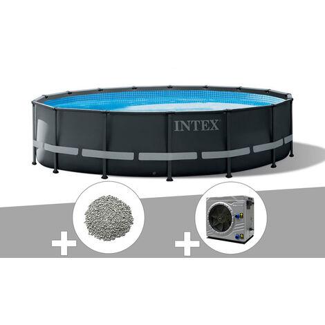 Kit piscine tubulaire Intex Ultra XTR Frame ronde 4,88 x 1,22 m + 20 kg de zéolite + Pompe à chaleur