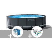 Kit piscine tubulaire Intex Ultra XTR Frame ronde 4,88 x 1,22 m + Bâche à bulles + Kit de traitement au chlore