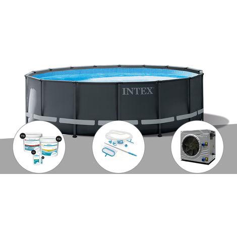 Kit piscine tubulaire Intex Ultra XTR Frame ronde 4,88 x 1,22 m + Kit de traitement au chlore + Kit d'entretien + Pompe à chaleur