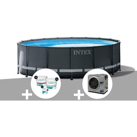 Kit piscine tubulaire Intex Ultra XTR Frame ronde 4,88 x 1,22 m + Kit de traitement au chlore + Pompe à chaleur