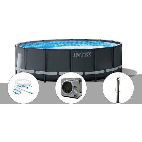 Kit piscine tubulaire Intex Ultra XTR Frame ronde 4,88 x 1,22 m + Kit d'entretien + Pompe à chaleur + Douche solaire