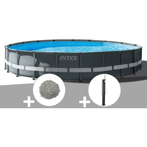 Kit piscine tubulaire Intex Ultra XTR Frame ronde 6,10 x 1,22 m + 20 kg de zéolite + Douche solaire