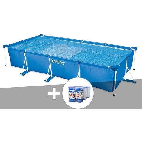 Kit piscine tubulaire rectangulaire 4,50 x 2,20 x 0,84 m + 6 cartouches - Intex