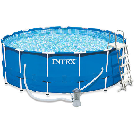 Kit piscine tubulaire ronde - Metal Frame - 4,57 m x 1,22 m - Intex - Livraison gratuite