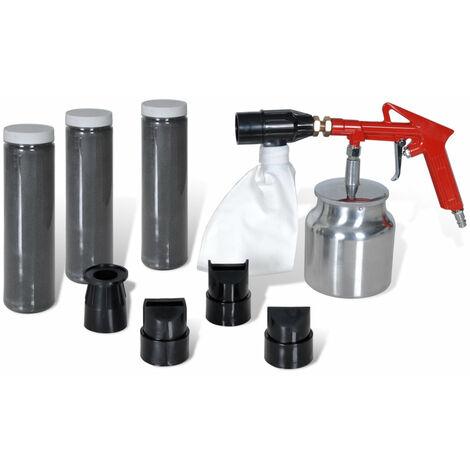 Kit pistolet sablage 3 bouteille de sable & 4 pcs gicleurs outils garage atelier bricolage - Noir