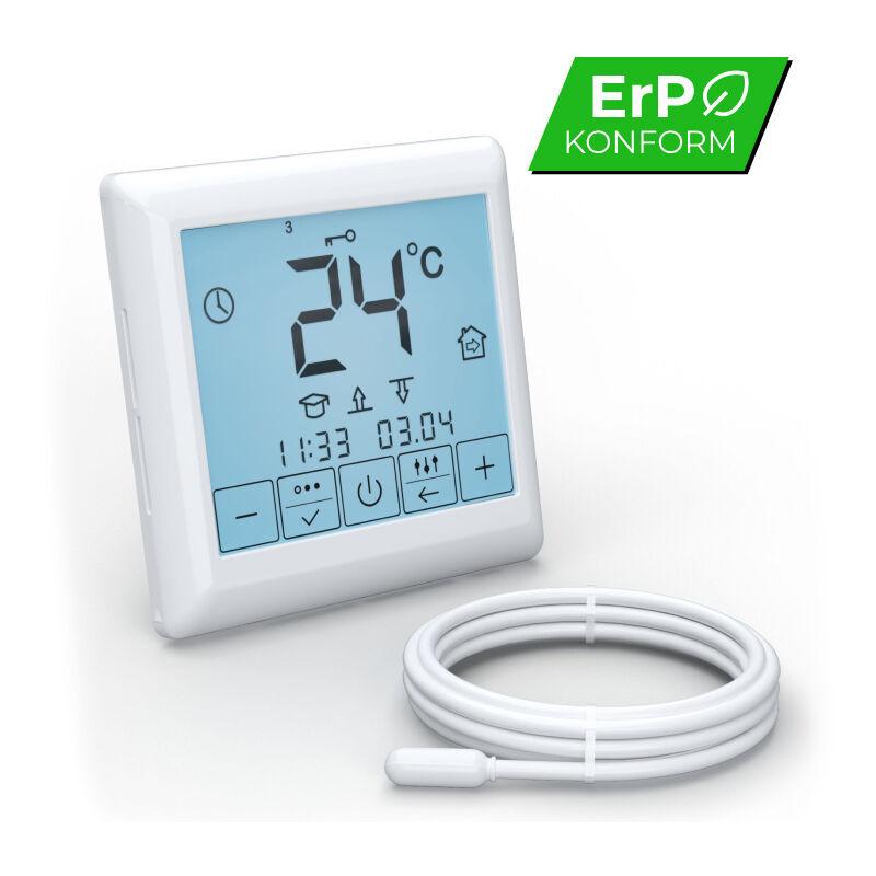 Set Complet avec Thermostat digital programmable Plancher chauffant /électrique rayonnant pour carrelage 160 W//m/² affichage LCD /écran tactile 7.0 m/²