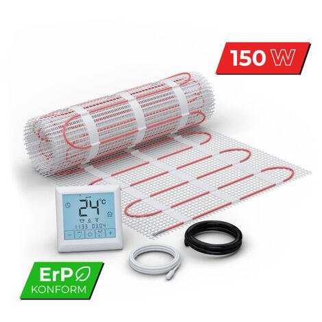 Kit Plancher chauffant électrique rayonnant pour carrelage 150 W/m² - Set Complet 1.0m² avec Thermostat digital programmable - affichage LCD écran tactile