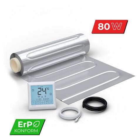 Kit Plancher rayonnant électrique pour sol flottant 80 W/m² -avec Thermostat digital programmable - affichage LCD écran tactile