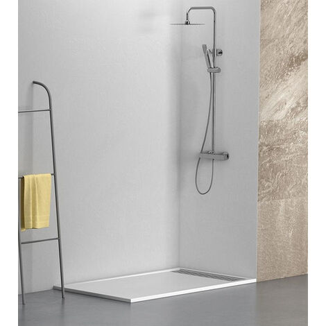 """main image of """"KIT Plato de ducha de resina antidezlizante BLANCO + Mampara frontal con cristal de seguirdad 4mm"""""""